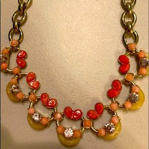 Lee Angel Coral and Yellow Statement Necklace